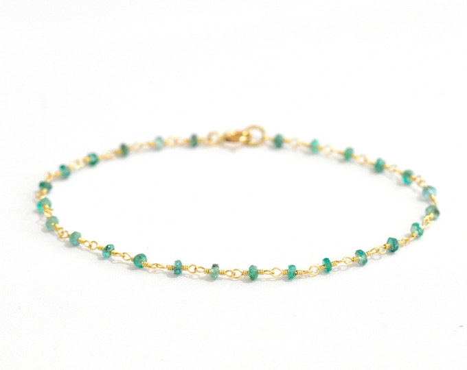 Featured listing image: 18K Gold. Emerald Bracelet in 18K Yellow Gold , Natural Zambian Emerald Gold Bracelet, May Birthstone Jewelry, Gift for Her, 18KYG
