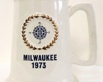 Vintage Stein, Milwaukee 1973,Collectible Stein,Ceramic Stein,Nautical,Compass,Keepsake