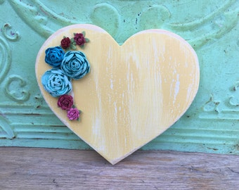Wooden Yellow Heart Hanger, Embellished Wood Heart, Yellow and Ivory Crackled Heart with Flowers
