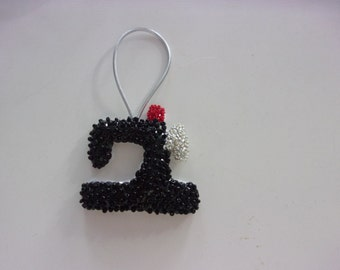 "Handmade Felt and Sequin SEWING MACHINE   Ornament  2  1/2 "" h x 2  1/2 ""w"