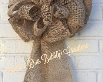 Natual Burlap Wedding Pew Bow