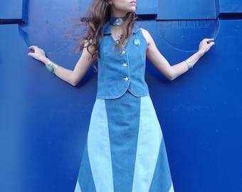HUZZAR DESIGN 70s Style Denim Sunray Maxi Skirt in Size SMALL