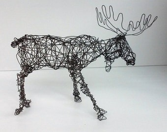 Unique Wire Animal Sculpture - BULL MOOSE - Wildlife Sculpture - One of a Kind