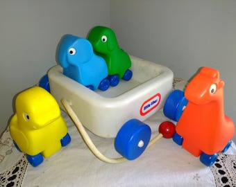 Vintage Little Tikes Animals and Friends Wagon Set Complete Rolling Baby Toddler Toy With Wheels