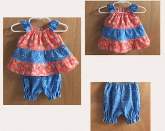 Infant Tiered Dress with Bloomers, size Newborn