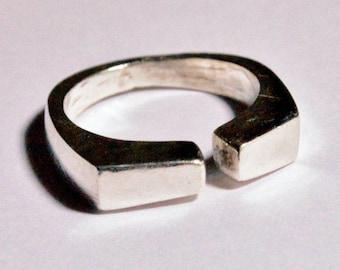 SALE Vintage Sterling Silver Mid Century Modern Ring Adjustable Band Sz 9