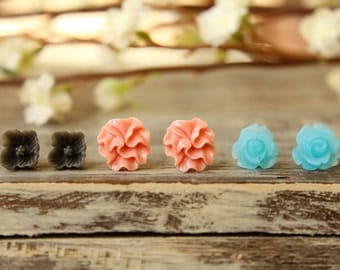 Flower Earring Studs Trio: Grey Sakura Blossom, Vintage Pink Ribbon Flower, Frosted Blue Rose