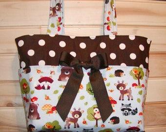 READY To Ship As Is No changes..Woodland Animals N Dots..Diaper bag, handbag, purse, book.