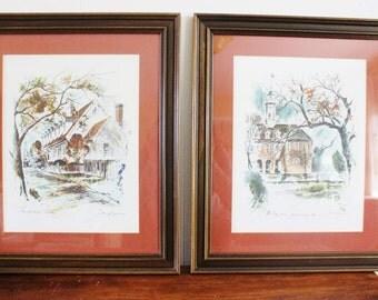 Vintage pen and ink sketches, original vintage art, illustration, pen and ink framed art, orange and black in dark wooden frame