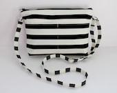 Jenny Crossbody - black & white - adjustable strap - hipster - 4 pockets - stripe print