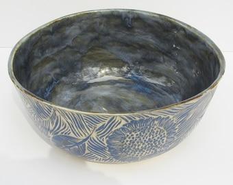 ceramics and pottery serving bowl; sgraffito pottery; hand built ceramics; flower serving bowl