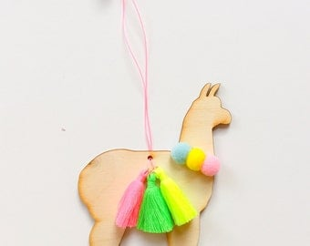 Wooden Alpaca Ornament - Pom poms + tassel Multicolor - Christmas tree, Nursery decor - Christmas stocking