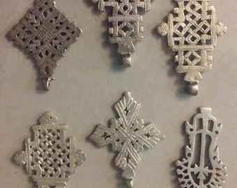 Ethiopian Coptic Crosses (6) jewelry making, pendants, Rasta Culture (ec004)