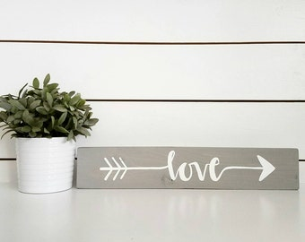 Love arrow sign - rustic grey and white arrow