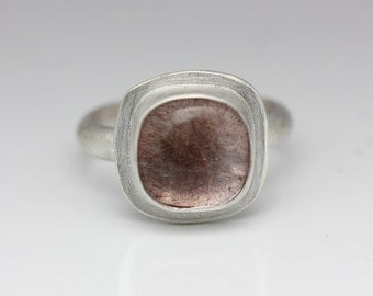 Royal Lepidocrocite Quartz & Sterling Ring, Cushion, AAA Quality, Size 6.25