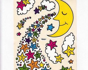 SALE Moon and Shooting Stars JUMBO Vintage Vinyl Sticker Sheet - 8 Inch - 80's Rainbow Cloud Star Man in the Moon BJ Decal Specialties