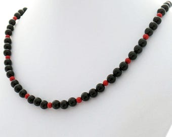 Black Onyx Red Coral Handmade Natural Stone Choker Necklace