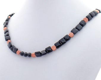 Black Onyx Copper Celtic Knot Natural Stone Necklace