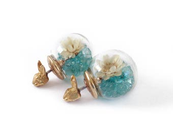 Animal Crystal Ball Stud Earrings ( Kitty or Bunny)