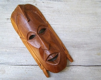 African Man Mask Carved Wood, Vintage Ethnic Art Totem Face, Tribal Decor, Man Cave Gift, Primitive Wall Art Sculpture,
