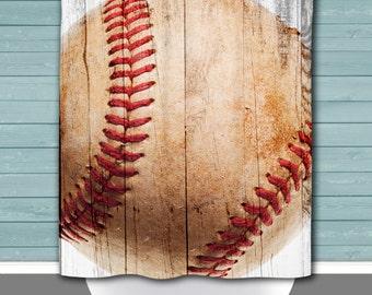 Baseball Shower Curtain: Baseball Fan Sports Bathroom   12 Eyelet/Button Hole   Size and Pricing via Dropdown