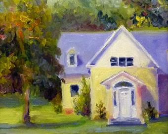 Sunlit Cottage Plein air Landscape Oil Painting Original Fine Art