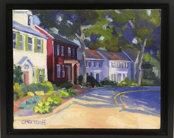 Crosswicks New Jersey Small Framed Landscape Oil Painting Around the Bend