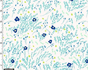 Flannel - Meandering Seafoam Flowers from Michael Miller's Wee Wander Collection