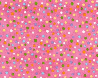 Multi Dots on Hot Pink From Henry Glass's Hippity Hop Collection