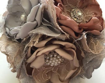 Fabric Bouquet - Champagne, Blush and Silver Bridesmaid Bouquet - Medium Size - Metallic Wedding, Gold, Rose Gold, Silver, Precious Metals