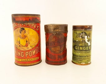 Antique Kitchen Spice Tins Vintage Advertising Tins 1900's Metal Kitchen Spice Tins Collection of Antique Baking Product Tins Kitchen Decor
