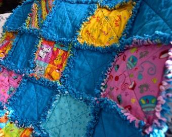 Modern Baby Rag Quilt, Crib Quilt, Rag Baby Blanket, Toddler Quilt, Baby Crib Bedding, Cats Baby Quilt, Modern Quilt