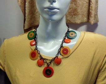 15% OFF Bakelite Necklace Upcycled Vintage Bakelite Poker Chip Necklace Bakelite Jewelry Bakelite Necklace Bakelite Summer Jewelry
