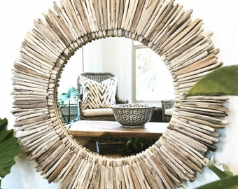 "Driftwood Mirror 28"", Round, Sunburst, Beach Home Decor, Living Room, Entryway, Driftwood Furniture, Reclaimed, Mirrors, Home Goods"