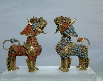 Vintage Pair of Chinese Foo Dogs Made of Red Coral Turquoise Filigree Brass Removable Heads 3 inches tall (75.50 mm) Excellent condition