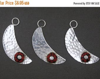 10% off Mothers Day Tibetan Half Moon Pendant with Round Red Coral Colored Mosaic - Tibetan Silver Toned Brass Hammered Half Moon Pendant -