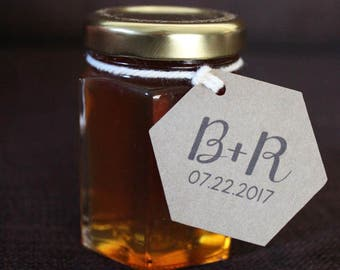 Honey Jar Tags or Honey Dipper Labels for Wedding Favor Guest Gifts Customized with Your Initials Date Set of 75 Hexagon
