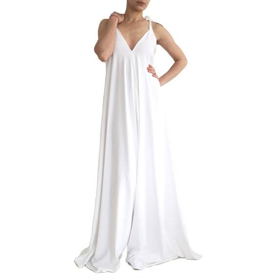 white jumpsuit/ wide leg jumpsuit/ loose jumpsuit/ wedding