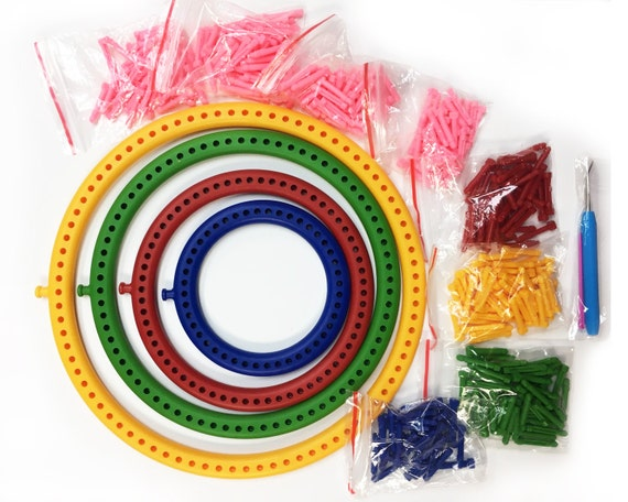 Knitting Loom 12 Pegs : Knitting loom set circular looms with removable pegs for