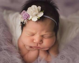 Floral Headband in Lavender and Ivory, Newborn Headband, Rose Headband, Ivory Floral Headband, Photo Prop, Headband, Baby Girl Headband