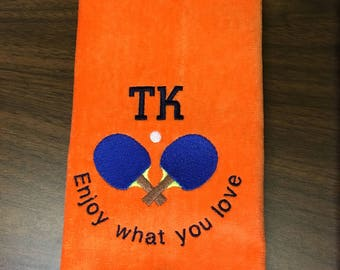 Personalized sport towels with name and hook, ping pong, table tennis, track and field, ice skating, basketball, volleyball, golf, bowling,
