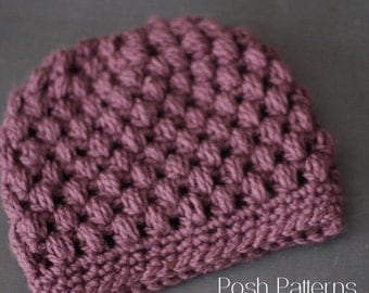 Crochet PATTERN - Puff Stitch Crochet Messy Bun Hat Pattern - Crochet Hat Pattern - Ponytail Hat - Toddler, Child, Adult Sizes -  PDF 441