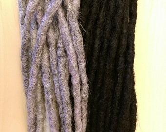 Grey and black dreadlocks crochet synthetic dreadlock extensions - natural look, double ended, DE, long, 20 pieces