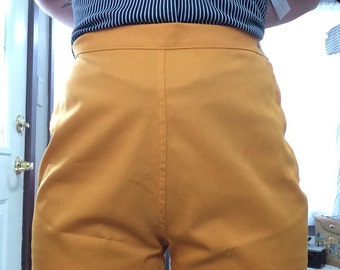 Awesome 50's High Waist Marigold Yellow Shorts