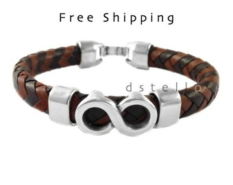 Men's jewelry, infinity bracelet, men's gift idea, cuff bracelet, thick Spanish leather, antiqued silver, custom made cuff,