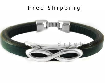 Leather bracelet, Infinity bracelet, men's leather jewelry, gift for him, men's bracelet, custom made cuff, leather bangle