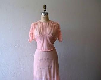 Vintage 1930s dress . 30s silk chiffon dress