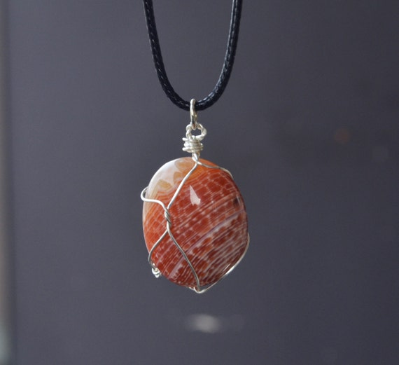 Mens Stone Necklace, Agate Necklace, Natural Stone Necklace, Orange Agate Necklace, Snakeskin Agate, Agate Jewelry,