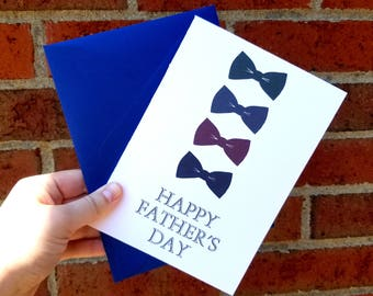 Happy Father's Day Bowtie  Single Greeting Card with Matching Blue Envelope