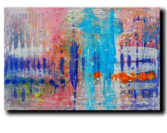 "Art Painting Abstract Painting Acrylic Painting Canvas Painting ""Blue Reflections"" 24""x36"" Original Painting"